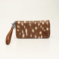 Angel Ranch Zip Clutch Wallet Deer Collection Brown
