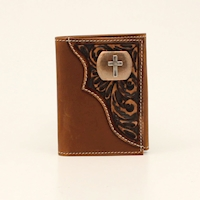 3D Trifold Wallet Floral Tooled Cross Concho Brown