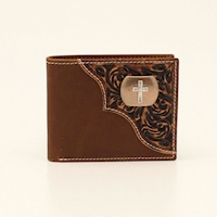 3D Bifold Wallet Floral Tooled Cross Concho Brown