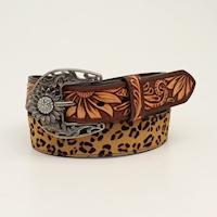 Angel Ranch Ladies Belt 1 1/2 Leopard Sunflower Tooled Brown