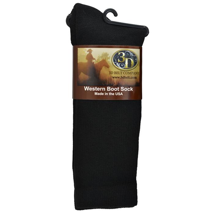 3D Black Boot Sock Mid-Calf Size Large
