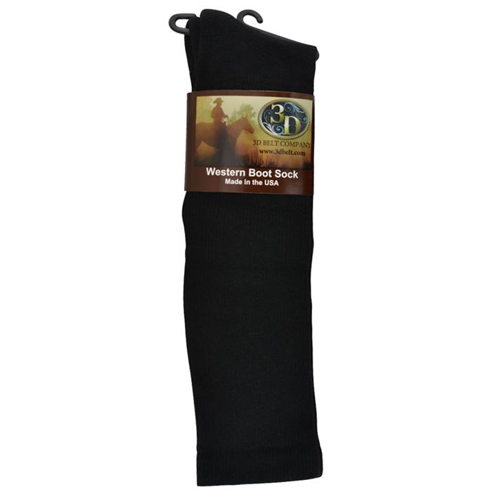 3D Black Boot Sock Over-Calf Size Medium