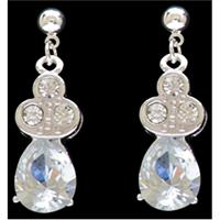 Silver Strike Clear Crystal Teardrop Earrings