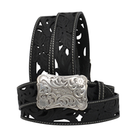 "Angel Ranch  1 1/2"" Black Ladies' Western Fashion Belt"