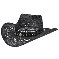Alamo Black Twisted Toyo Straw Hat with Hondo Crown