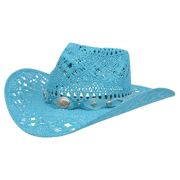 fc6d0ccf201 Alamo Turquoise Twisted Toyo Straw Hat with Hondo Crown - 06680 - 3D Belt