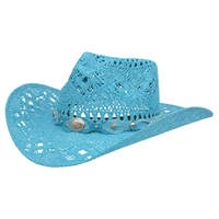Alamo Turquoise Twisted Toyo Straw Hat with Hondo Crown