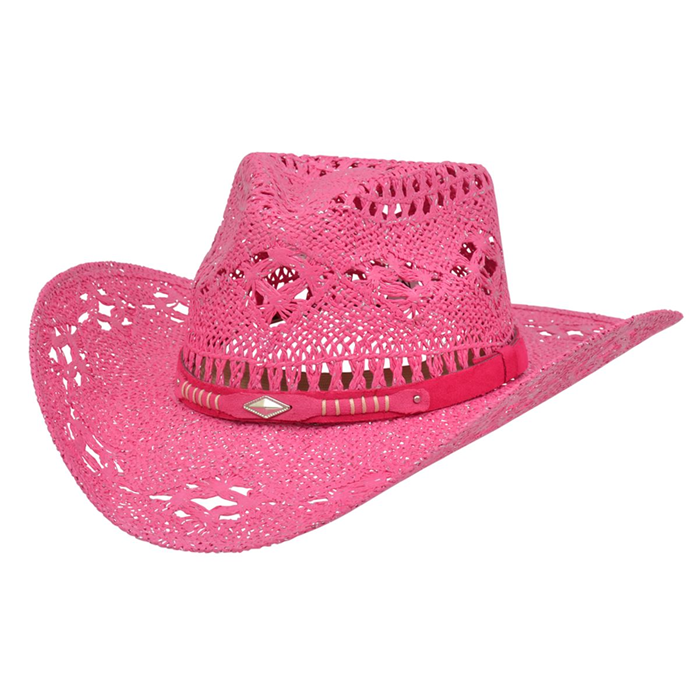 Alamo Magenta Twisted Toyo Straw Hat with Hondo Crown