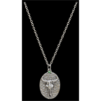 LoulaBelle Silver Steer Skull Necklace