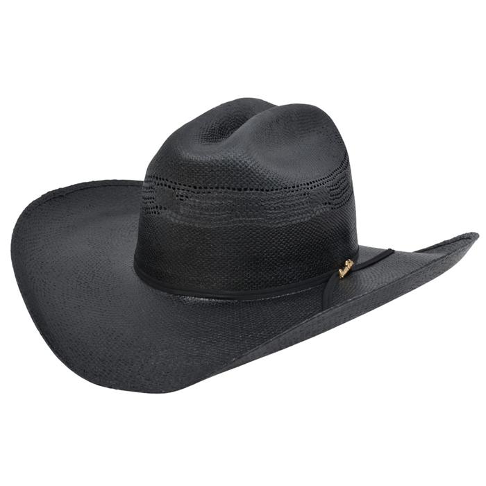 Bangora Straw Hat: Alamo 5X Black Bangora Straw Hat With Rancher Crown