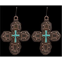Angel Ranch Copper and Turquoise Cross Earrings