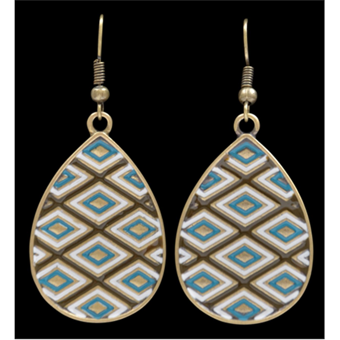 Silver Strike Brown and Turquoise Earrings