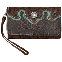 Angel Ranch Brown Large Smartphone Holder Wristlet